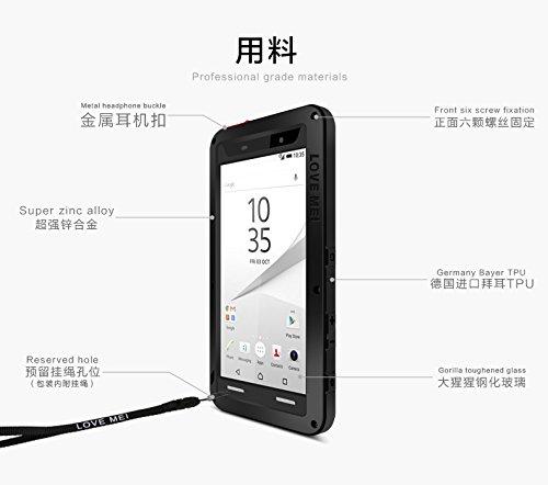 Schutzhülle Sony Xperia Z5Premium lovemei france- stoßfest und wasserdicht–schwarz