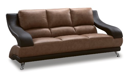 (Global Furniture Wyatt Collection Leather Matching Sofa, Brown and Dark Brown)