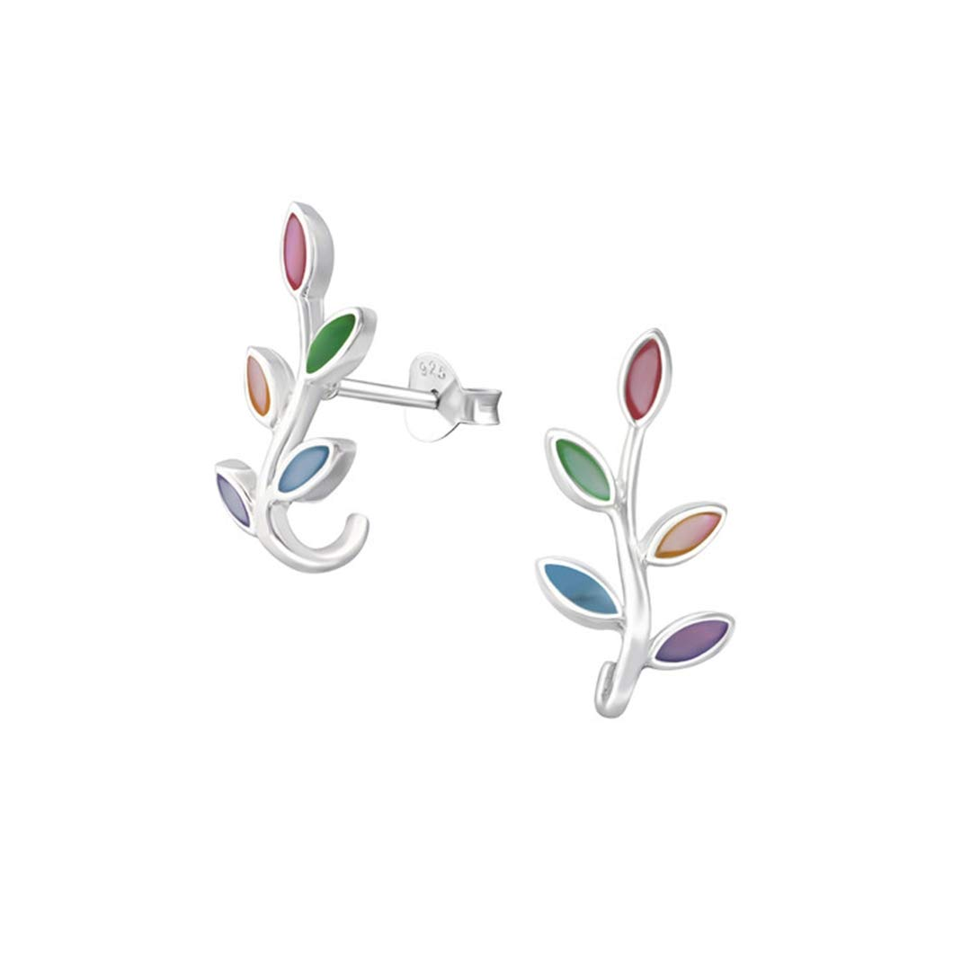 Liara Polished And Nickel Free Olive Branch Plain Ear Studs 925 Sterling Silver