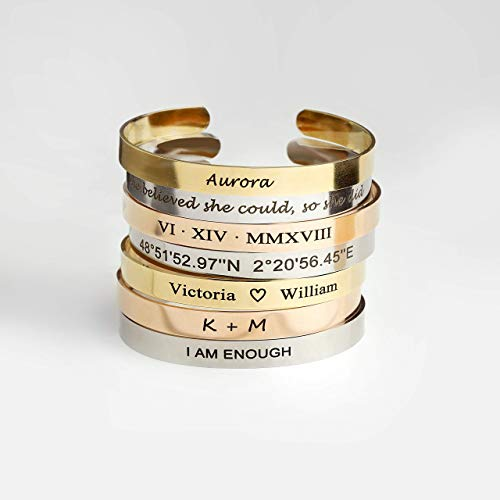 Same Day Shipping Before 12pm Cuff Bracelet Personalized Bangle Birthday gift for Women Inspirational Friendship Bracelet Gift for Her Bridesmaid Proposal Coordinate Bracelet - FBR ()