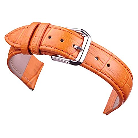 20mm Orange Yellow Leather Watch Band Straps Replacement for Women Genuine Calfskin Alligator Grain