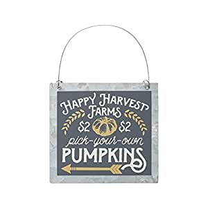 PUMPKINS - Pick Your Own - Happy Harvest Farms Tin Ornie Ornament Sign - Autumn Fall Rustic Primitive Country