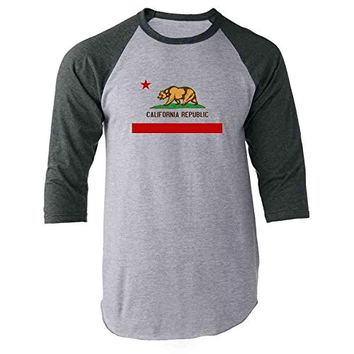 Pop Threads California Republic Calexit Flag Gray M Raglan Baseball Tee Shirt
