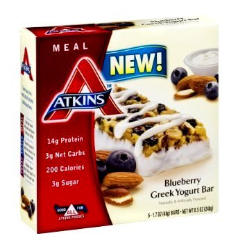 - Atkins, Blueberry Greek Yogurt Bar (2 PACK), 5 Bars in Each Box. 10 Delicious Bars. 1.70 oz