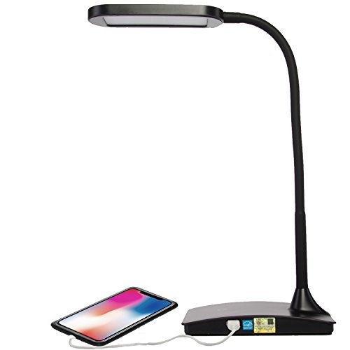 Man Lighting - TW Lighting IVY-40BK The IVY LED Desk Lamp with USB Port, 3-Way Touch Switch, Black