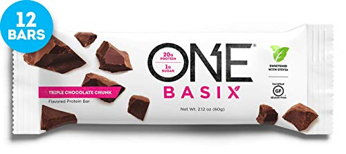 ONE Basix Protein Bars, Triple Chocolate Chunk, Gluten Free Protein Bars with 20g Protein and only 1g Sugar, Guilt-Free Snacking for High Protein Diets, 2.12 oz (12 Pack)
