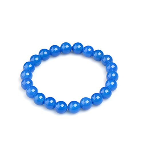 MATT HANN 3A Brazil Blue Agate Bracelet 8mm Original Handmade Grouding Stone Protection