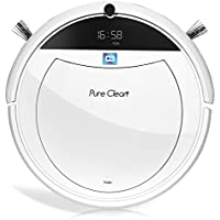 Smart Programmable Robot Vacuum Cleaner - Gyro Sensor Home Navigation, Scheduled Activation & Automatic Charge Dock - Robotic Auto Cleaning for Carpet Hardwood Floor - PureClean PUCRC105