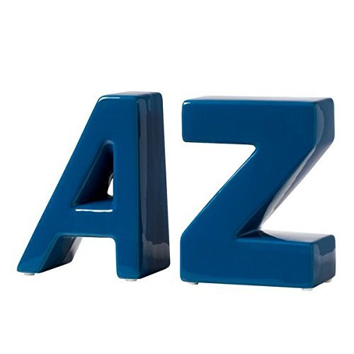 - Torre & Tagus 902383B AZ Ceramic Block Bookends, Set of 2, Blue