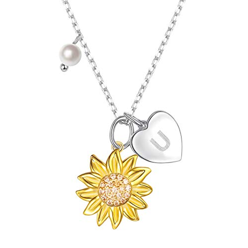 Sterling Silver Gold Tone Sunflower Initial 26 Letter Script Name Alphabet A to Z Necklace Personalized Pendant (U)