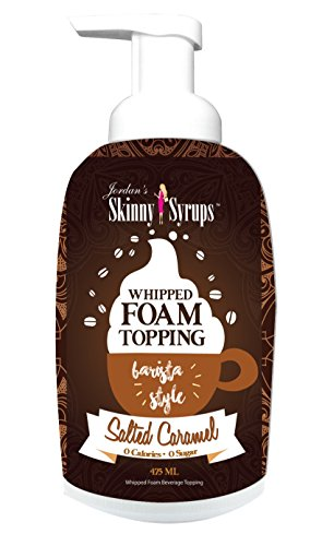 (Jordan's Skinny Syrups | Sugar Free Salted Caramel Whipped Foam Coffee Topping | Healthy Flavors with 0 Calories, 0 Sugar, 0 Carbs | 16oz Bottle)