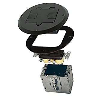 Hubbell-Raco 6239BK Floor Kit with Recessed Duplex 15A TR Device and Adjustable Steel Box, Black