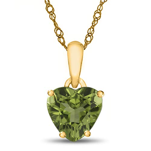 Finejewelers 10k Yellow Gold 7mm Heart Shaped Peridot Pendant Necklace (10k Peridot Necklace)