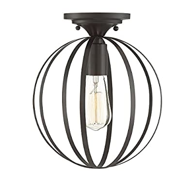 Trade Winds Lighting TW60046ORB Industrial Vintage Retro Metal Sphere Loft Close to Ceiling Semi-Flush, in Oil Rubbed Bronze