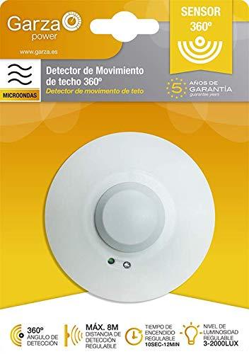 Garza Power - Detector de Movimiento Microondas de Techo, ángulo de Detección 360º, color Blanco: Amazon.es: Bricolaje y herramientas