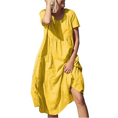 【HebeTop】 Women's Summer Casual Loose Dress Beach Cover Up Long Cami Maxi Dresses Yellow -