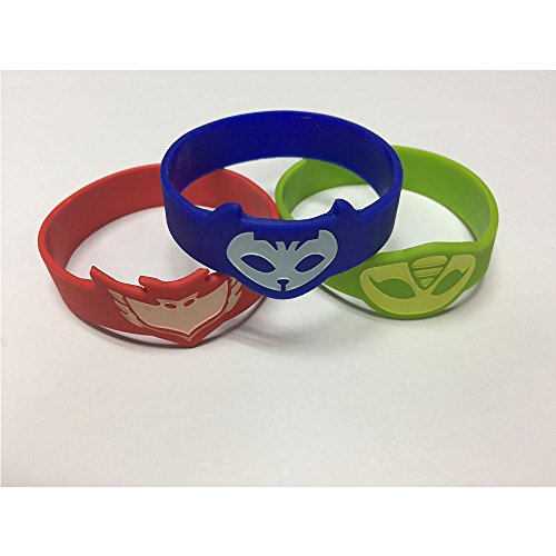 PJ Masks Silicone Bracelet Wrist Band For Kids Set of 3 Catboy Owlette Gekko