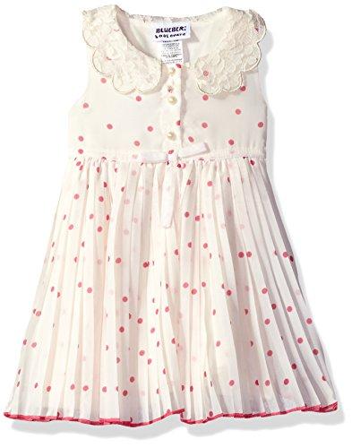 Blueberi Boulevard Baby Girls' Dot Floral PLTD Peterpan Collar Sundress, Pink, 12M (Boulevard Blueberi Dress)