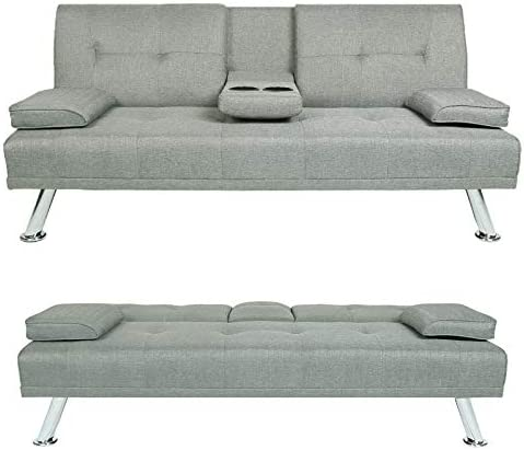 """HWT Modern 66"""" Futon Loveseat Sofa Bed Convertible Fabric Folding Sleeper Sofa Couch Armless No-Tool Assembly Upholstered Lounger Sofa Bed Living Room Furniture Apartment Office Bedroom (Light Gray)"""