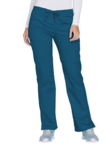 Cherokee Core Stretch by Workwear Women's Drawstring Scrub Pant Medium Caribbean Blue (Pants Blue Stretch)