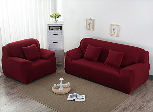 19V78 Modern Decorative Elastic Sofa Cover Solid Color Fashion Sofa Slipcovers For living Room Stretchable Couch Cover Cushion(Loveseat,Burgundy) by 19V78