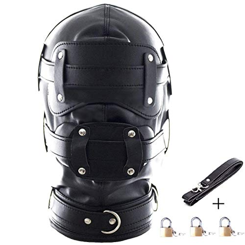 Leather Costume Head Mask Hood - Black Leather Full Face Lacing Harness Unisex Breathable Headgear Mask (Long Mouth Gag(3.9inch)) -