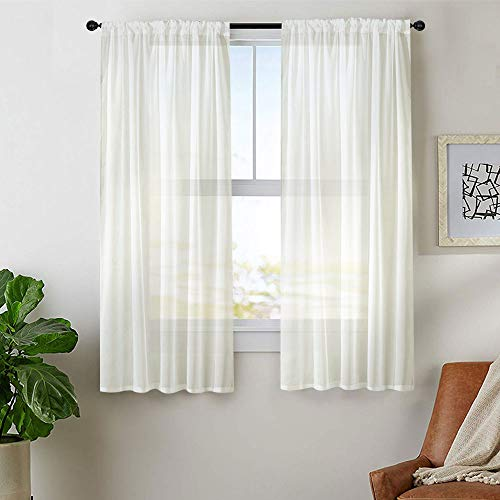 MRTREES Sheer Tier Curtains 45 inch Length Short Sheer Curtains Bathroom Small Window Kitchen Tiers Solid Voile Curtain Panels Rod Pocket Cafe Curtains 2 Panels Window Treatment Set Off - Voile Solid