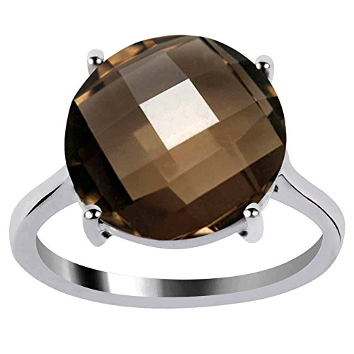 Orchid Jewelry Round Shaped Checkerboard Smoky Quartz 925 Sterling Silver Ring for Women and Girls, Best Gift, Perfect for Engagement, Anniversary, Mother Day, Box (5.37 Cttw, 12x12 MM) (Box Smoky Silver Quartz Jewelry)