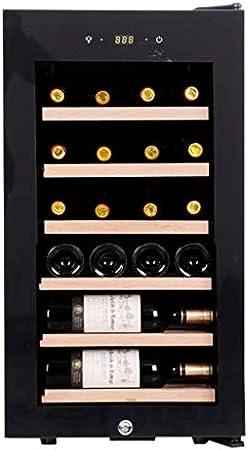 Sonw Yang Nevera para vinos, compacta y con refrigerador para vinos, con refrigerador de vino y cigarro, con pantalla digital de temperatura, con asa, estructura de roble puro, negro