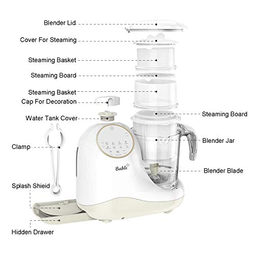 Baby Food Maker for Infants and Toddlers, Bable All in 1 Food Processor Mills Machine with Steam, Blend, Chop, Reheater, Grinder and Auto Cleaning, Touch Control Panel, Auto Shut-Off by BABLE (Image #6)