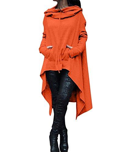 (Women's Kangaroo Pockets Plus Size Pullover Irregular Hem Long Drawstring Hoodie Top Dress Orange M)