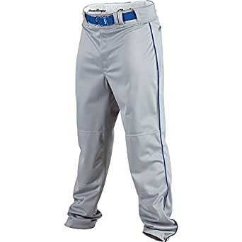 Rawlings Youth Relaxed Fit YBP350MRP Piped Baseball Pant, Blue Grey with Royal Piping, Youth Small