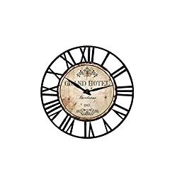 Toright Farm House Wall Clock with Grand Hotel Design Theme and Vintage Rustic Shabby Chic Style Home Decoration Wooden and Metal Round 16 inch Wall Clock