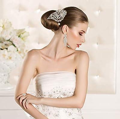 Finrezio 3 PCS Silver Tone Chandelier Earrings Oval Ring Set for Women Prom Long Rhinestone Dangle Earrings Crystal Costume Jewelry Set