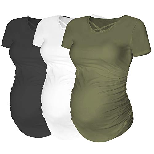 Rnxrbb Womens Short Sleeve Maternity Tops Pregnancy T-Shirt Criss Cross Cacual Ruch Side Mama ()