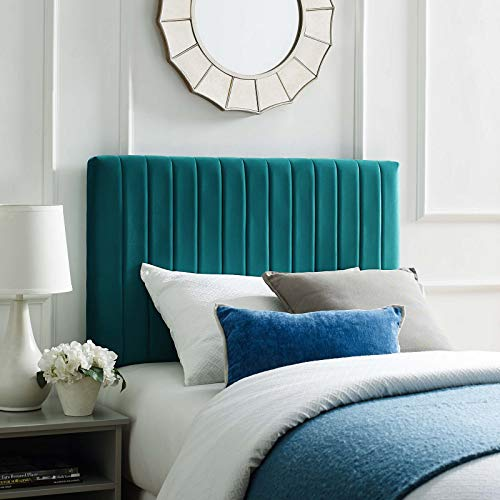 Modway Keira Channel Tufted Performance Velvet Upholstered Twin Headboard in Teal - Green Twin Headboard