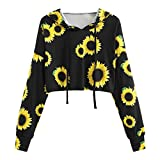 Opeer Hoodie Womens Long Sleeve Sunflower Printing Hooded Sweatshirt Blouse Tops (S(US:4), Black)