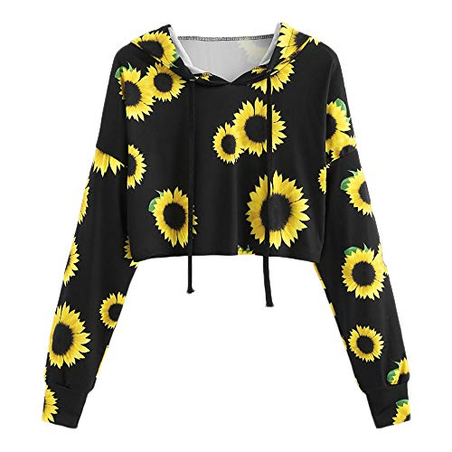 Halter Cover Terry Cloth (Womens Sunflower Printing Pullover, Long SleeveHooded Sweatshirt ANJUNIE Blouse Tops(Black,M))