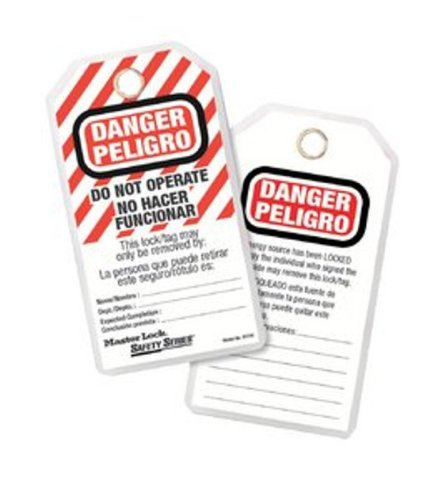 Master Lock Heavy Duty English/Spanish ''Danger - Do Not Operate'' Tag, Polyester, 5-3/4'' Height, 3'' Width (Pack of 12) by Master Lock