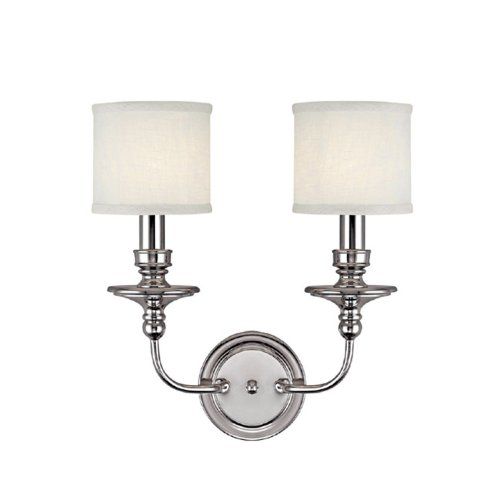 Capital Lighting 1232PN-451 Wall Sconce with White Fabric Shades, Polished Nickel Finish (Double Wall Sconce Transitional)