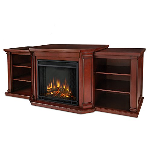 Solid Mahogany Fireplace Mantel (Valmont Entertainment Electric Fireplace in Dark Mahogany Finish)