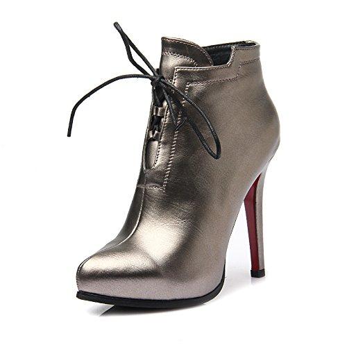 KHSKX-Nuevas Botas De Invierno Martin Fashionista Botas Botas De Una Sola Correa Stilettos El Botín Más TerciopeloTreinta Y SeisPistola De Color