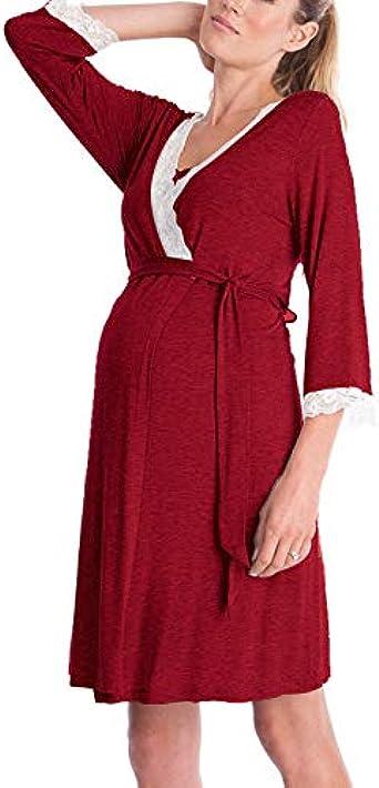 Sodial Robe De Maternite Dentelle A Manches Longues Allaitement Bebe Pyjama De Maternite Robe Rouge L Amazon Fr Vetements Et Accessoires