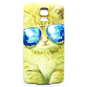PEACH Animal Cool Cat Pattern Thin Hard Case Cover for Samsung Galaxy S5 I9600