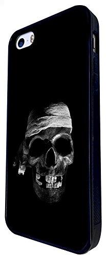 1479 - Cool Fun Trendy Skeleton Zombies Scary Skull Tattoo Biker Skull Design iphone SE - 2016 Coque Fashion Trend Case Coque Protection Cover plastique et métal - Noir