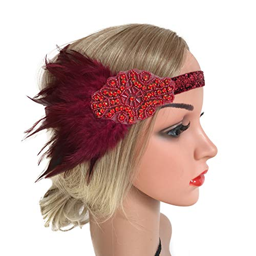 ZTL Flapper Headband 1920s Feather Headpiece Roaring 20s Gatsby Hair -