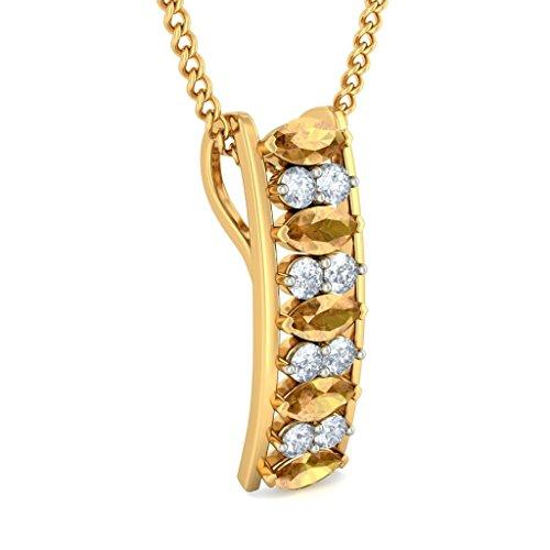 14K Or jaune 0,26CT TW Round-cut-diamond (IJ   SI) et saphir Jaune Pendentif