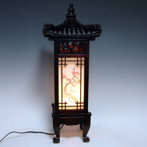 Carved Wood Lamp Handmade Traditional Korean Dragon Roof