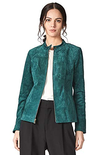 Escalier Women`s Genuine Leather Jacket Suede Moto Jackets Green (Suede Jackets For Women)