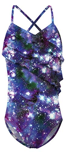Galaxy Suit - AIDEAONE Girls Planet Swimsuits Quick Dry Galaxy Sky Swimwear Cute Bathing Suit 8-10T